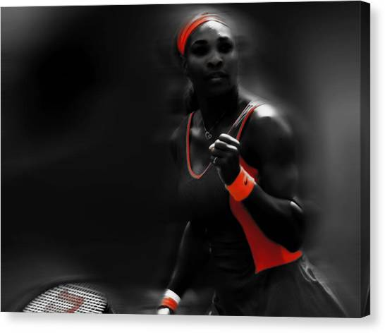 Maria Sharapova Canvas Print - Serena Williams 2 Points Left by Brian Reaves
