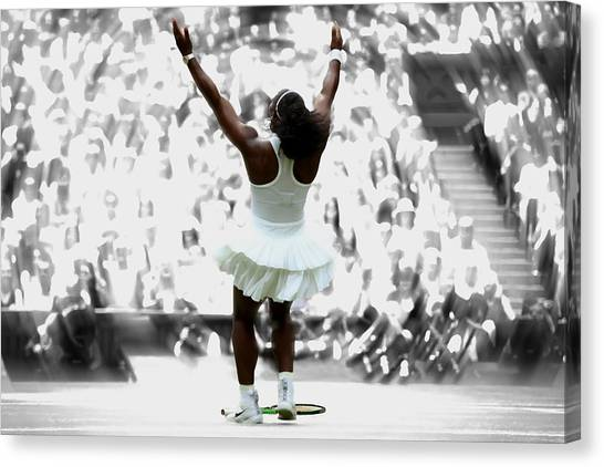 Maria Sharapova Canvas Print - Serena Williams After Victory by Brian Reaves