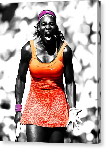 Venus Williams Canvas Print - Serena Williams Fired Up by Brian Reaves