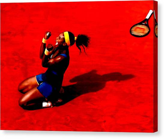 Venus Williams Canvas Print - Serena Williams French Open Victory by Brian Reaves