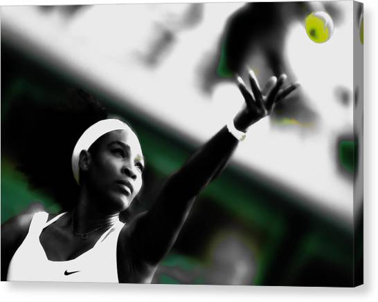 Maria Sharapova Canvas Print - Serena Williams Making Each Serve Count by Brian Reaves