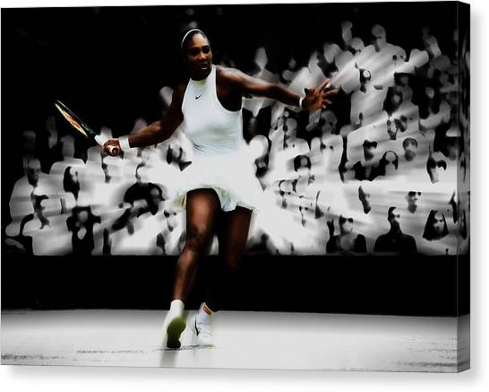 Maria Sharapova Canvas Print - Serena Williams Putting On A Show by Brian Reaves