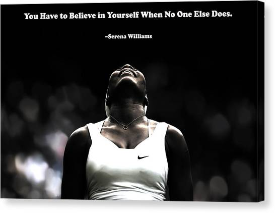 Venus Williams Canvas Print - Serena Williams Quote 2a by Brian Reaves