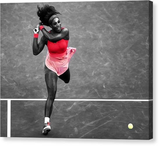 Serena Williams Canvas Print - Serena Williams Strong Return by Brian Reaves