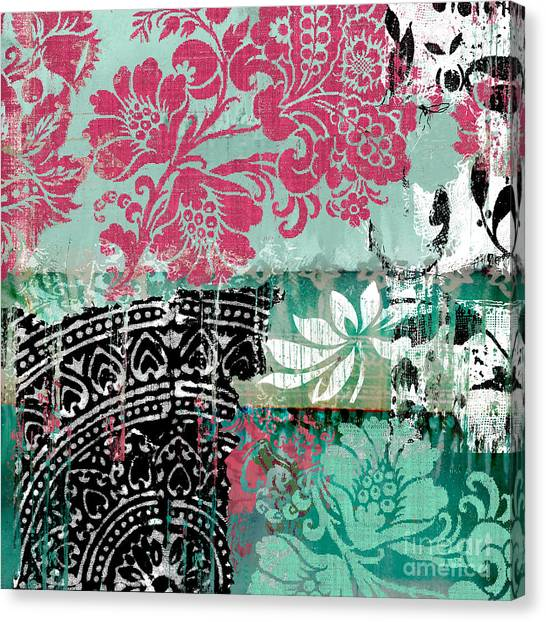 Fuschia Canvas Print - Serendipity Damask Batik II by Mindy Sommers