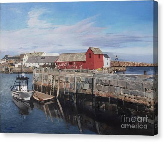 Serene Afternoon At Rockport Harbor    Canvas Print