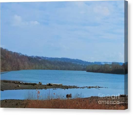 Serene River Landscape Canvas Print