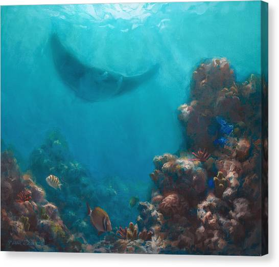 Ocean Life Canvas Print - Serenity - Hawaiian Underwater Reef And Manta Ray by Karen Whitworth