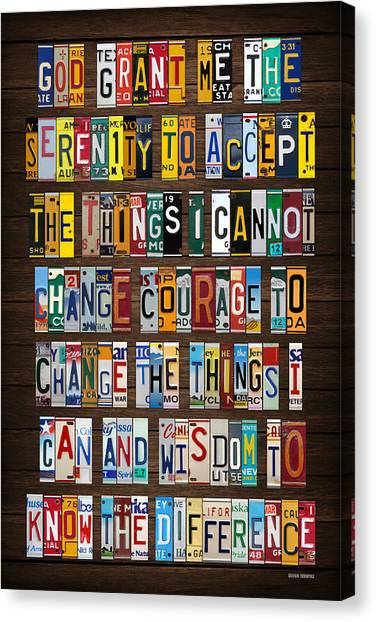 Serenity Prayer Canvas Print - Serenity Prayer Inspiration Words Vintage Recycled License Plate Art Lettering Phrase by License Plate Art and Maps