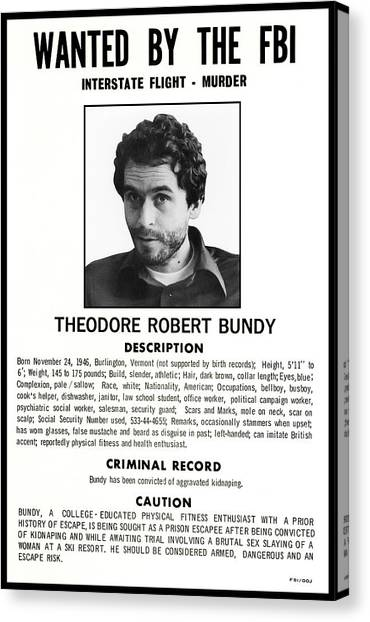 Ted Bundy Canvas Print - Serial Killer Ted Bundy by Daniel Hagerman
