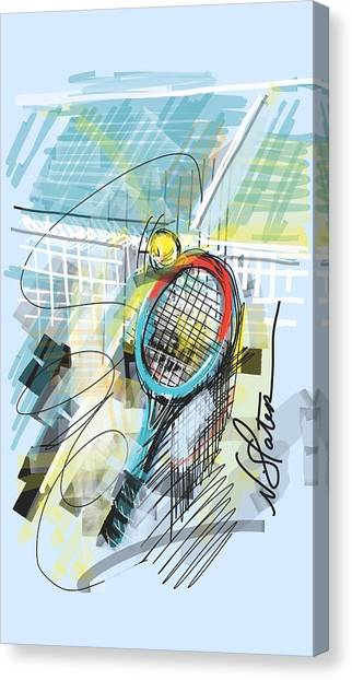Tennis Racquet Canvas Print - Serve by Nicole Slater