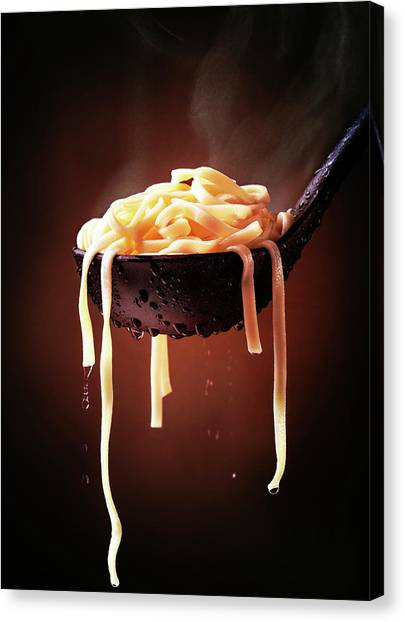 Spaghetti Canvas Print - Serving Cooked Fettuccine Steaming Hot by Johan Swanepoel