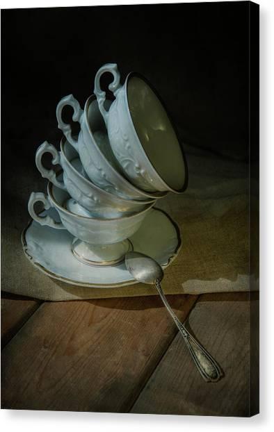 Tea Set Canvas Print - Set Of White Porcelaine Teacups by Jaroslaw Blaminsky