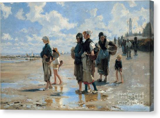 Low Tide Canvas Print - Setting Out To Fish by John Singer Sargent