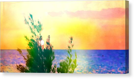 Pastel Colors On The Atlantic Ocean In Cancun Canvas Print