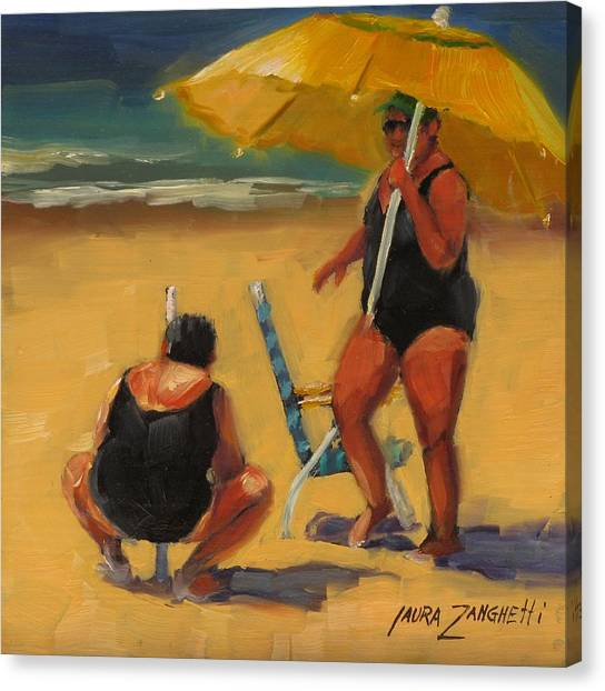 People On Beach Canvas Print - Setting Up by Laura Lee Zanghetti