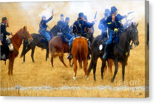 War Horse Canvas Print - Seventh Cavalry In Action by David Lee Thompson