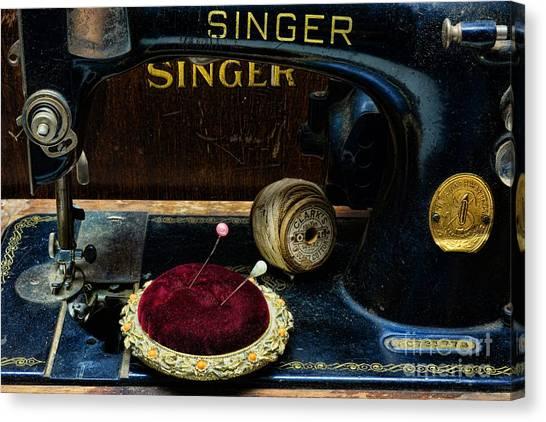 Pin Cushions Canvas Print - Sewing - Victorian Pin Cushion - Singer Sewing Machine by Paul Ward