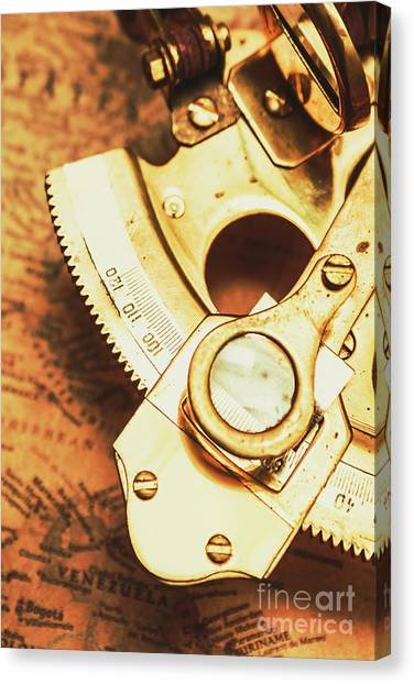 Brass Instruments Canvas Print - Sextant Sailing Navigation Tool by Jorgo Photography - Wall Art Gallery