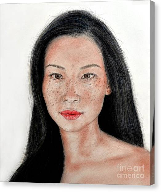 Lucy Liu Canvas Print - Sexy Freckle Faced Beauty Lucy Liu by Jim Fitzpatrick