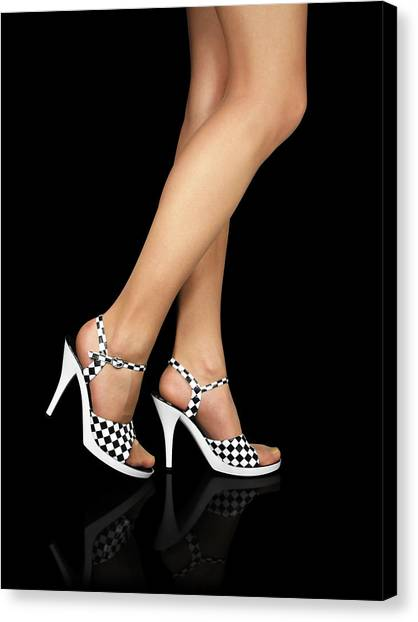 Ankles Canvas Print - Sexy Legs With High Heels Shoes by GoodMood Art