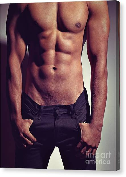 Sexy Male Muscular Body Canvas Print