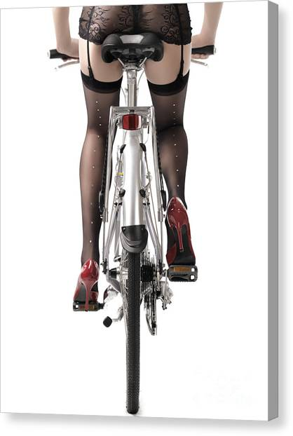 Sexuality Canvas Print - Sexy Woman Riding A Bike by Oleksiy Maksymenko