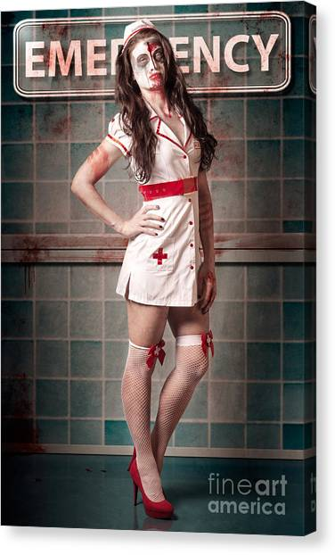 Outbreak Canvas Print - Sexy Zombie Medical Emergency Nurse In Hospital Er by Jorgo Photography - Wall Art Gallery