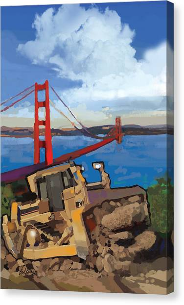 Bulldozers Canvas Print - Sf And D9 by Brad Burns