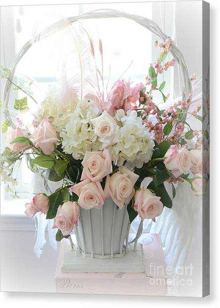 Shabby Chic Basket Of White Hydrangeas - Pink Roses - Dreamy Shabby Chic Floral Basket Of Roses Canvas Print
