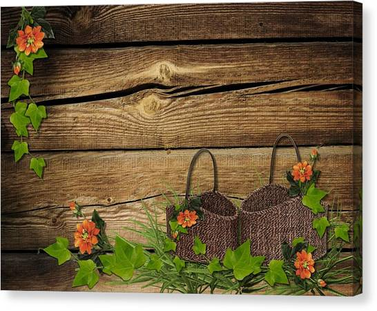 Shabby Chic Flowers In Rustic Basket Canvas Print