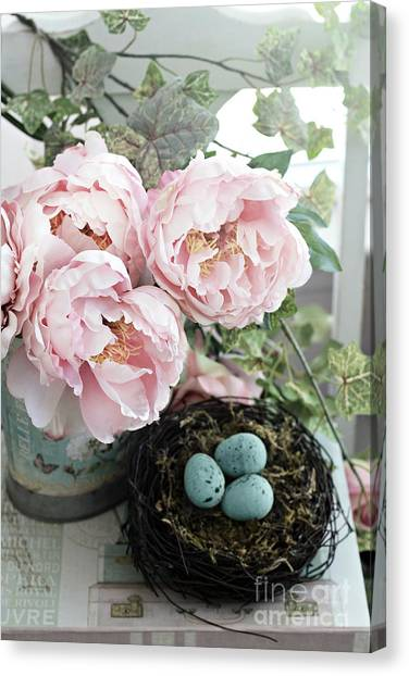 Peony Canvas Print - Shabby Chic Peonies With Bird Nest Robins Eggs - Summer Garden Peonies by Kathy Fornal