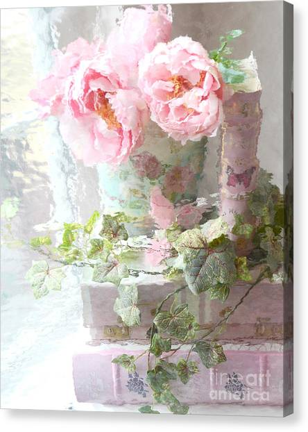 Impressionistic Canvas Print - Shabby Chic Pink Peonies Impressionistic Romantic Dreamy Cottage Peonies On Pink Books by Kathy Fornal