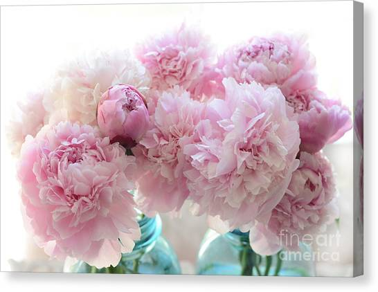 Peony Canvas Print - Shabby Chic Romantic Pink Peonies In Aqua Mason Jars - Shabby Cottage Aqua Pink Paris Peonies by Kathy Fornal