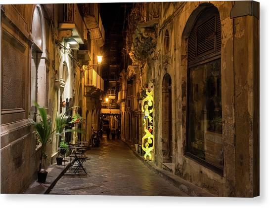 Midnite Canvas Print - Shabby Chic - Small Street Night Walk In Syracuse Sicily by Georgia Mizuleva