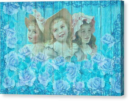 Shabby Chic Vintage Little Girls And Roses On Wood Canvas Print