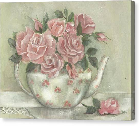 Shabby Teapot Rose Painting Canvas Print