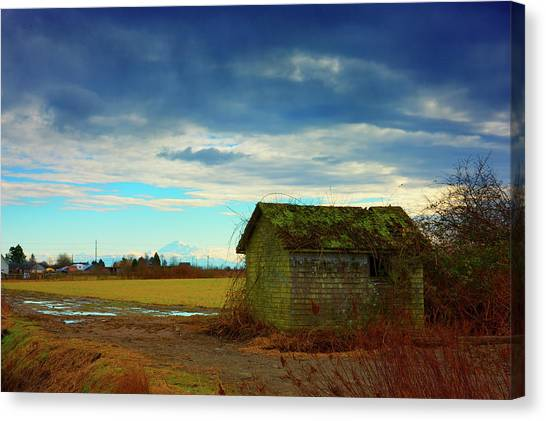 Shack And Moody Skies Canvas Print by Paul Kloschinsky