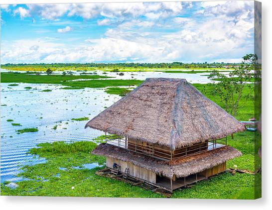 Amazon River Canvas Print - Shack In A River by Jess Kraft