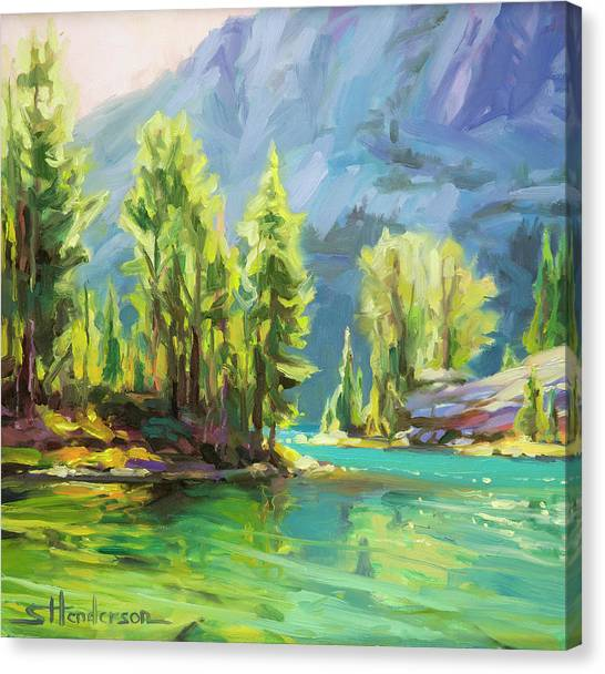 Fir Trees Canvas Print - Shades Of Turquoise by Steve Henderson