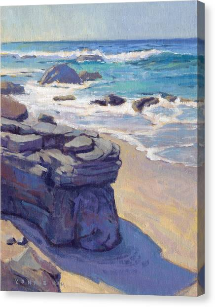 Canvas Print featuring the painting Shadow At Crystal Cove by Konnie Kim