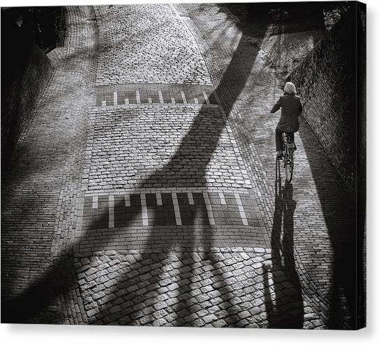 Cyclist Canvas Print - Shadow by Henk Van Maastricht