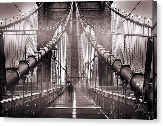 Brooklyn Bridge Canvas Print - Shadow Man by Az Jackson