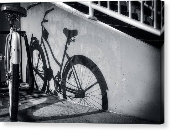 Shadow Of A Bike At Carolina Beach Canvas Print