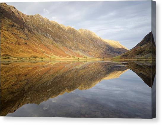 Shadows, Light And Reflections On Loch Achtrocitan Canvas Print