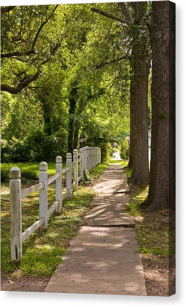 Mls Canvas Print - Shady Sidewalk With White Picket Fence by Scott Hales