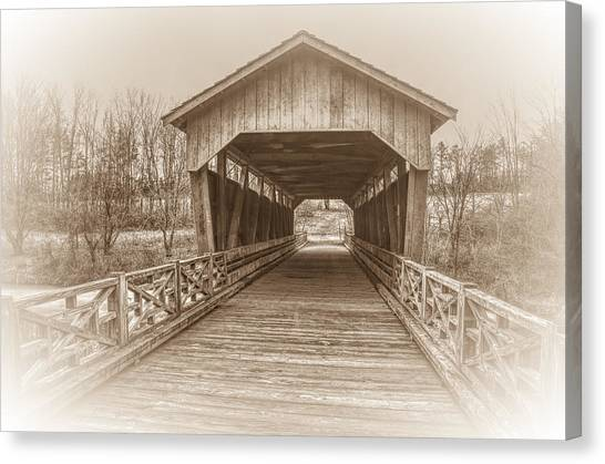 Belmont University Canvas Print - Shaeffer Campbell Covered Bridge Ohio In Sepia by Ina Kratzsch