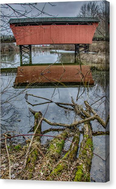 Belmont University Canvas Print - Shaeffer Campbell Covered Bridge Ohio Reflections by Ina Kratzsch