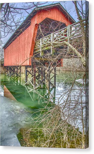 Belmont University Canvas Print - Shaeffer Campbell Covered Bridge St. Clairsville Ohio by Ina Kratzsch