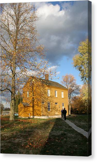 Shaker Building In The Fall Canvas Print by Angie Bechanan
